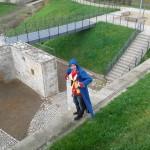 Hobby-Schauspieler trainiert auf der Erfurter Zitadelle Petersberg